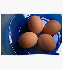 Four Eggs on a Plate Poster