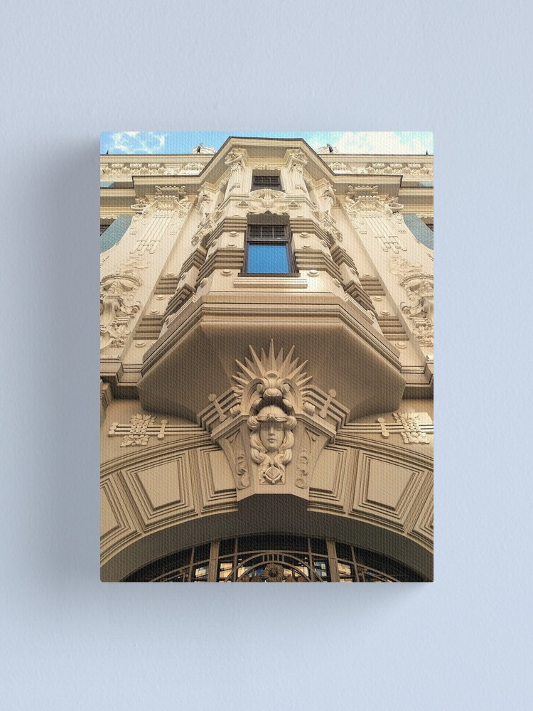 Alternate view of  Looking up at stunning Art Nouveau architecture in Riga Canvas Print