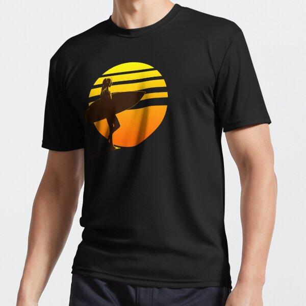 Golden Sunrise Surfer Girl Active T-Shirt