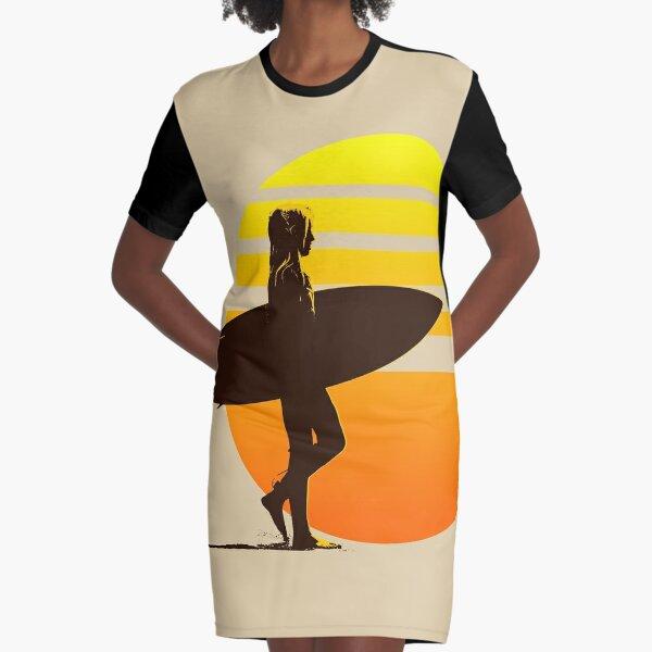 Golden Sunrise Surfer Girl Graphic T-Shirt Dress