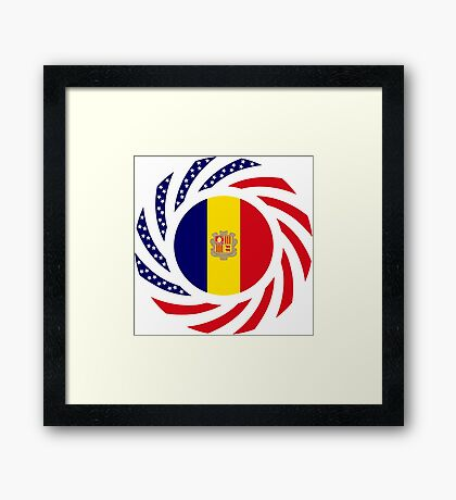 Andorran American Multinational Patriot Flag Series Framed Print