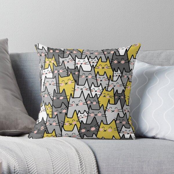 Partie de chat (jaune moutarde gris) Coussin