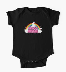 HEAVY METAL! (Funny Unicorn / Rainbow Mosh Parody Design) One Piece - Short Sleeve