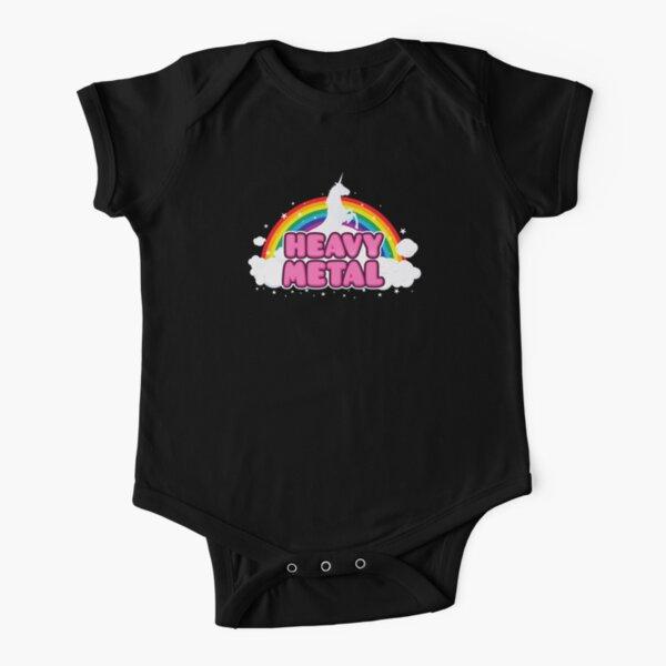 HEAVY METAL! (Funny Unicorn / Rainbow Mosh Parody Design) Short Sleeve Baby One-Piece