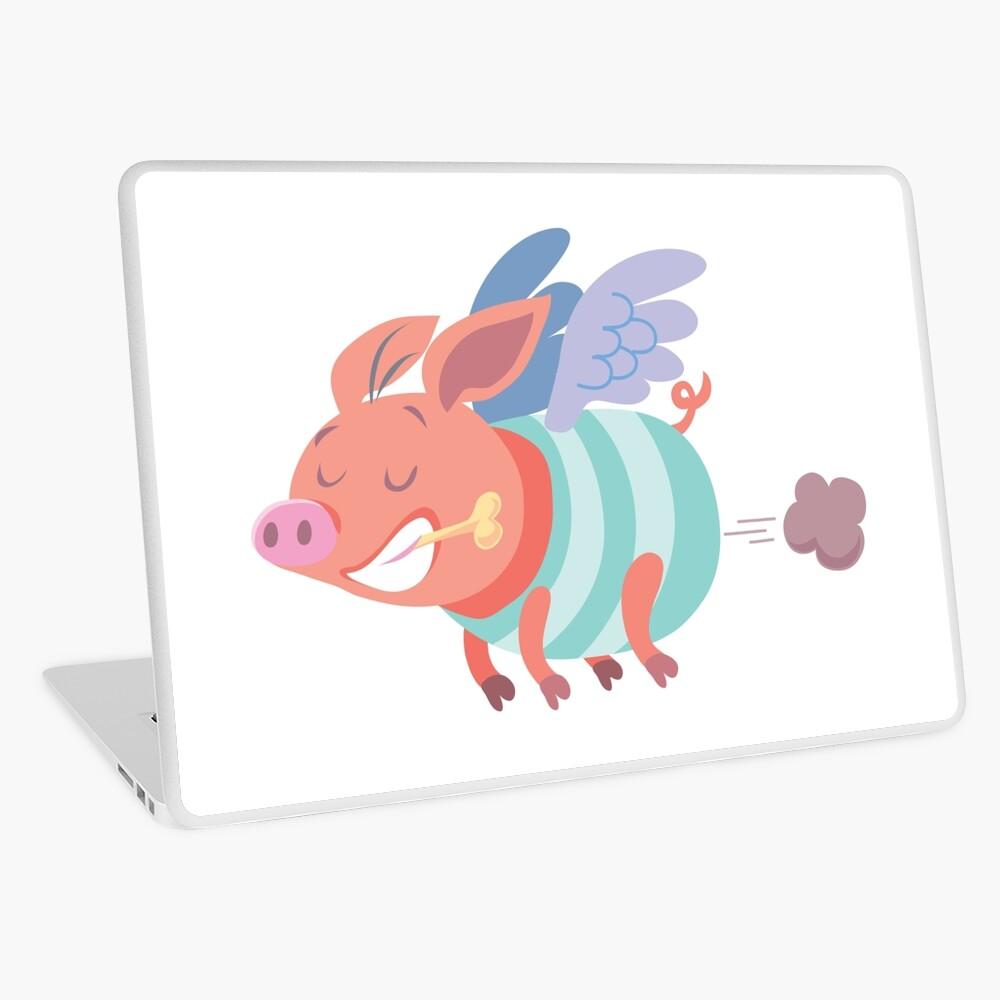flying pig farts Laptop Skin