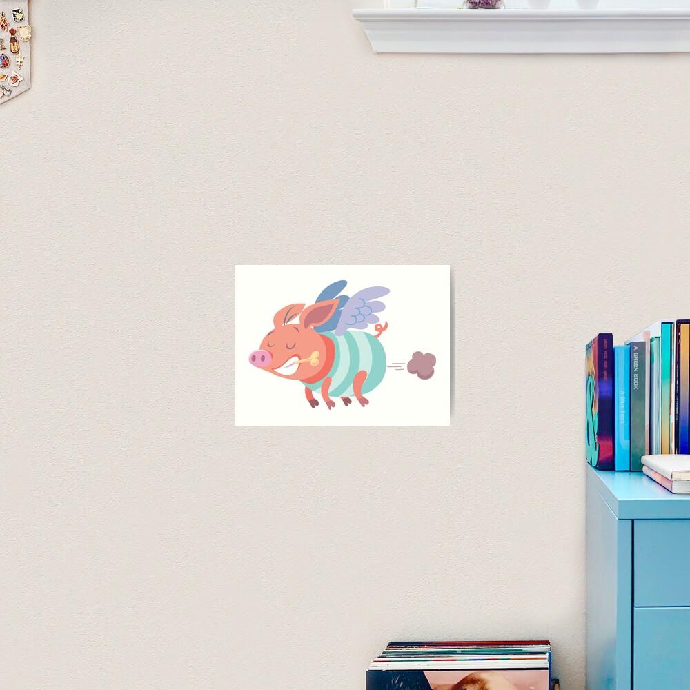 flying pig farts Art Print