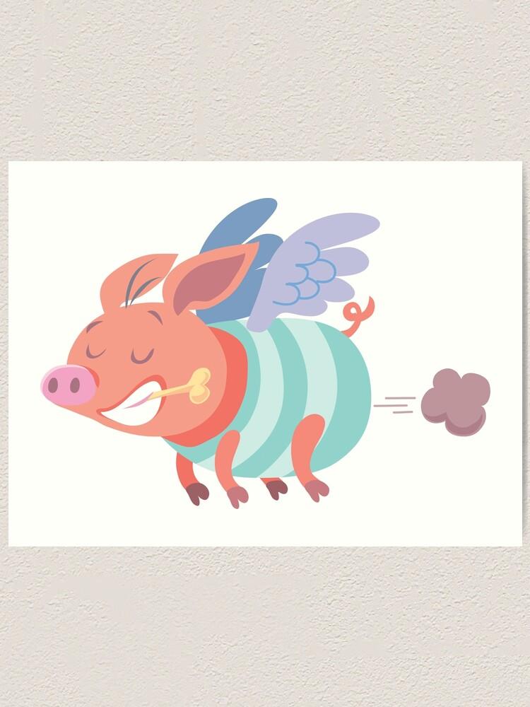 Alternate view of flying pig farts Art Print
