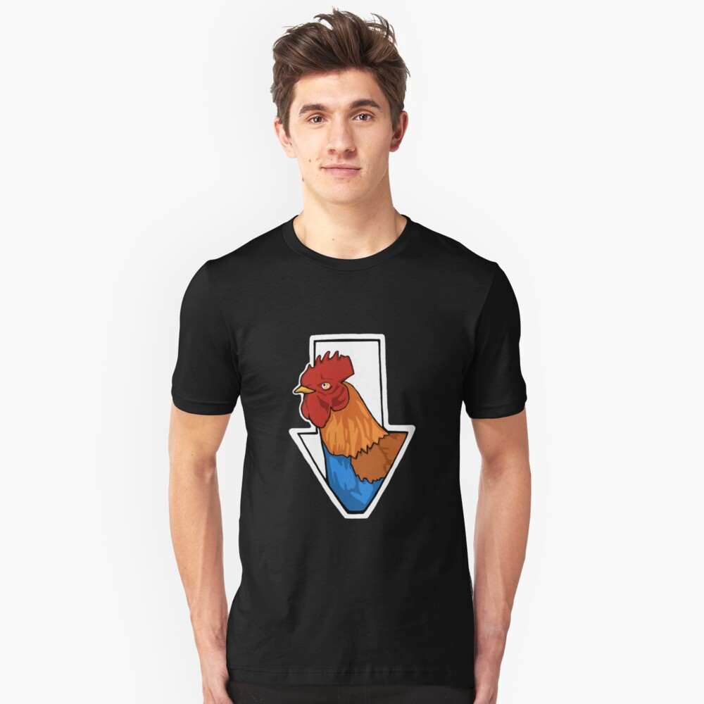 The Rooster Below... Unisex T-Shirt Front