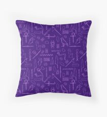 Purple Hieroglyphs Throw Pillow