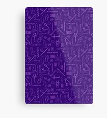 Purple Hieroglyphs Metal Print