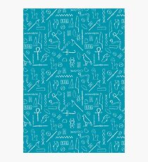 Teal Hieroglyphs Photographic Print