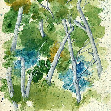 Spring Birch Trees by ProfThropp