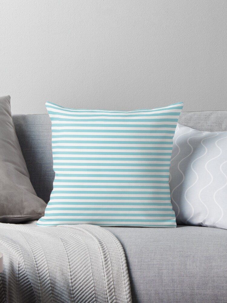 Pale Sky Blue and White Horizontal Stripe by podartist