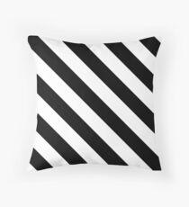 Black & White Diagonal Stripes Pattern Throw Pillow