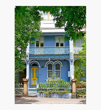 The Blue Terrace House. Old Sydney Style.  Photographic Print