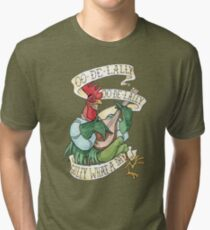 Alan-A-Dale Rooster : OO-De-Lally Golly What A Day Tattoo Watercolor Painting Robin Hood Tri-blend T-Shirt