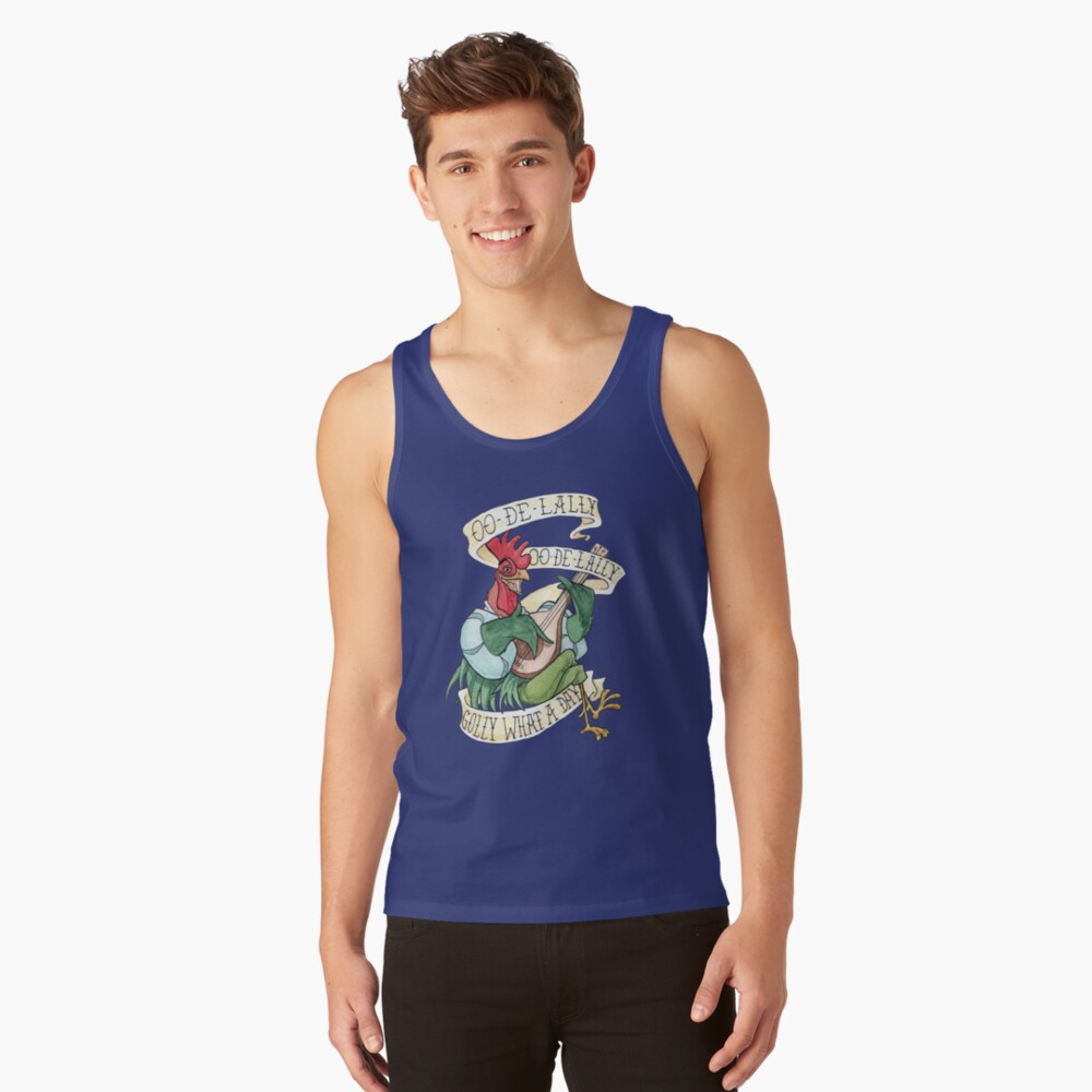 Alan-A-Dale Rooster : OO-De-Lally Golly What A Day Tattoo Watercolor Painting Robin Hood Tank Top