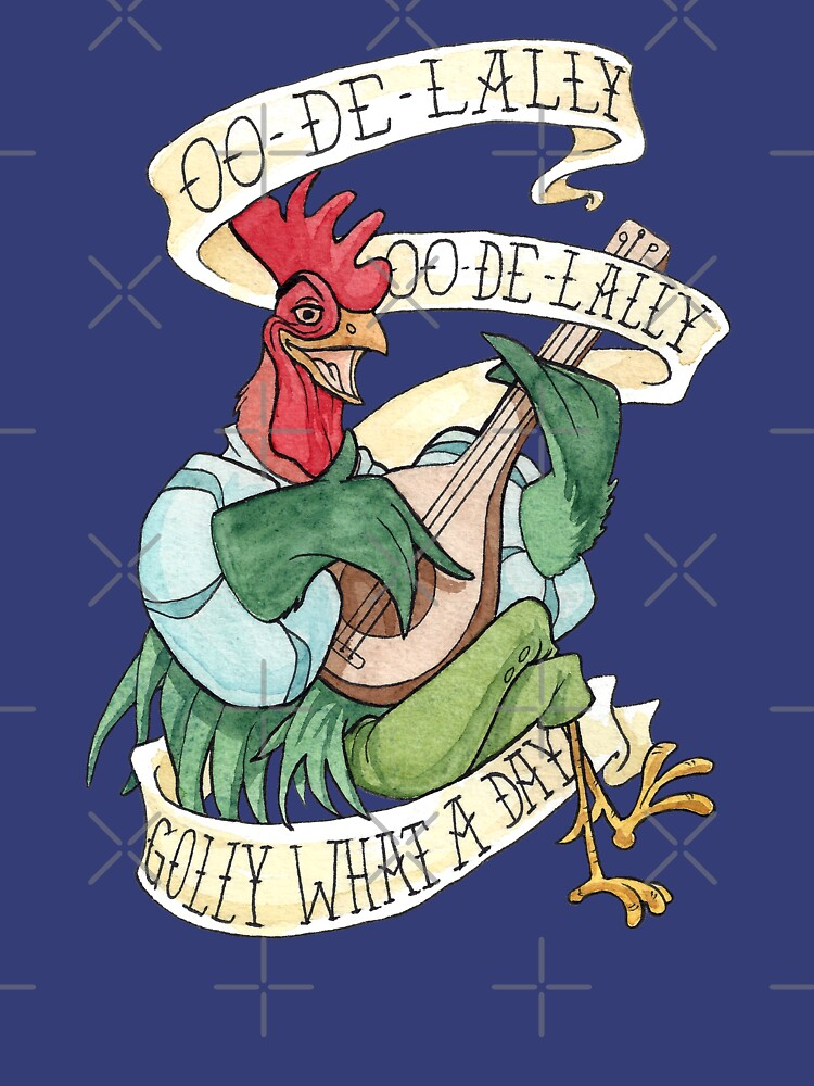 Alan-A-Dale Rooster : OO-De-Lally Golly What A Day Tattoo Watercolor Painting Robin Hood by Rvaya