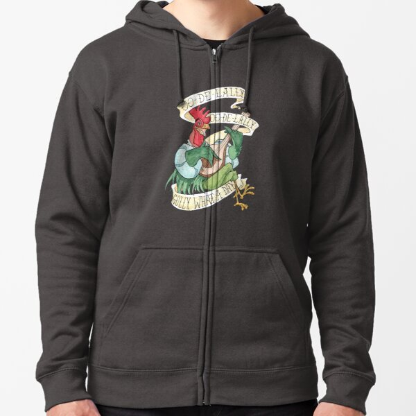 Alan-A-Dale Rooster : OO-De-Lally Golly What A Day Tattoo Watercolor Painting Robin Hood Zipped Hoodie