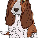 basset hound with flower crown by andilynnf