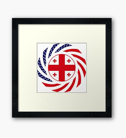 Georgian American Multinational Patriot Flag Series Framed Print