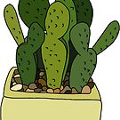 cactus in yellow pot by andilynnf