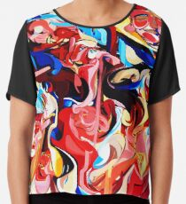 Expressive Abstract People Composition painting Chiffon Top