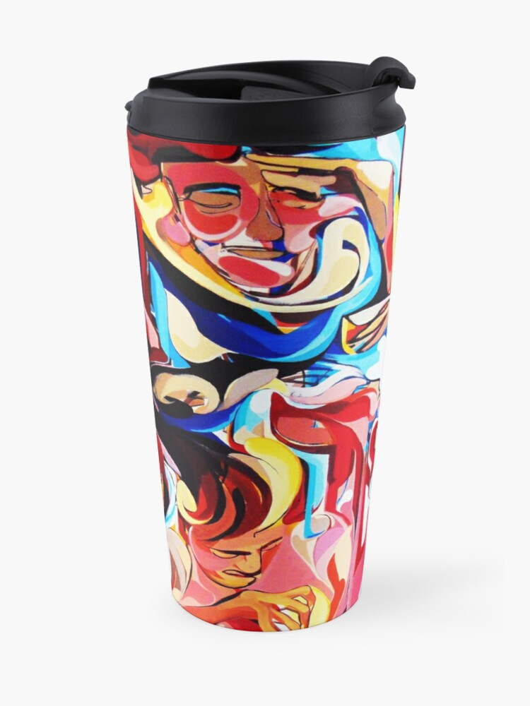 Alternate view of Expressive Abstract People Composition painting Travel Mug