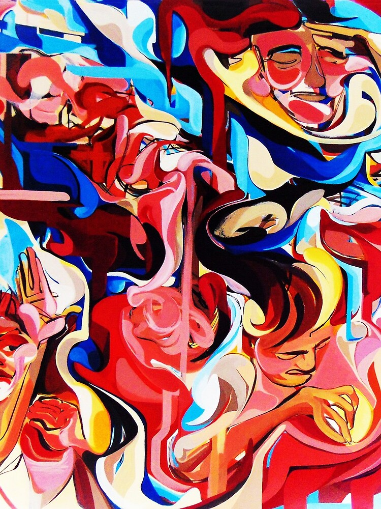 Expressive Abstract People Composition painting by CatarinaGarcia