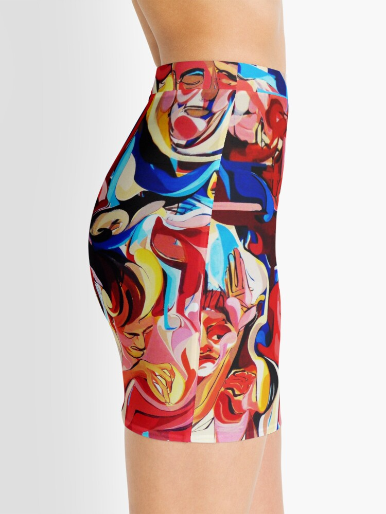 Alternate view of Expressive Abstract People Composition painting Mini Skirt