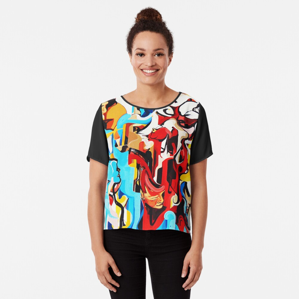 Expressive Abstract People Music Composition painting Chiffon Top