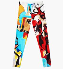 Expressive Abstract People Music Composition painting Leggings