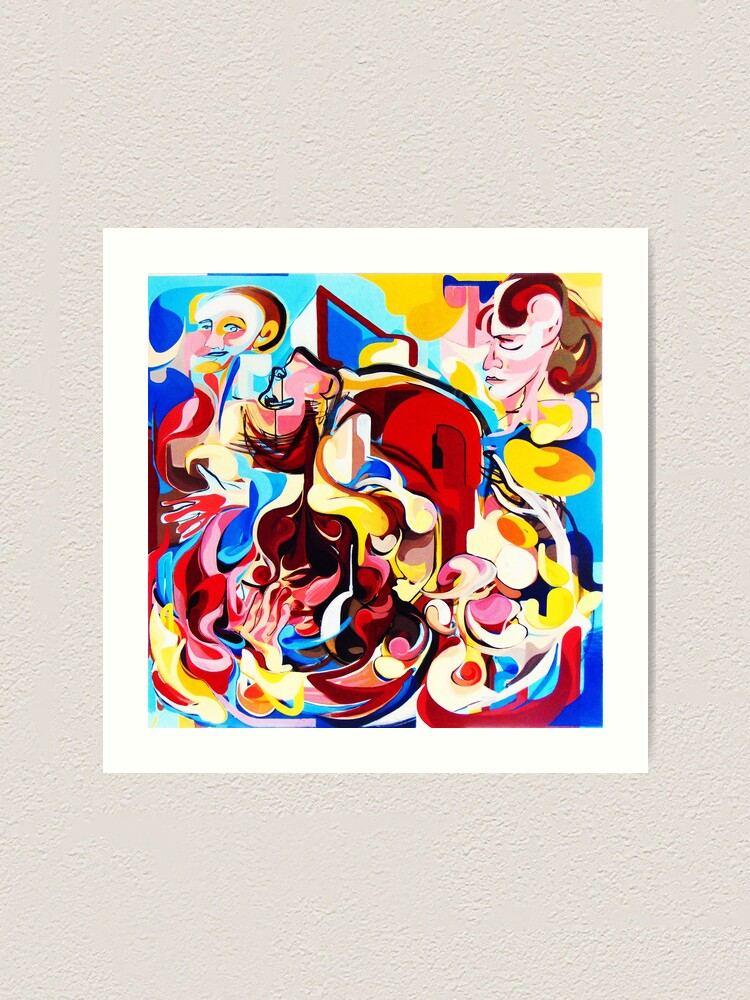 Alternate view of Expressive Abstract People Music Composition painting Art Print