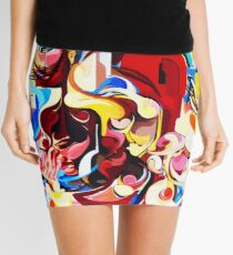 Expressive Abstract People Music Composition painting Mini Skirt