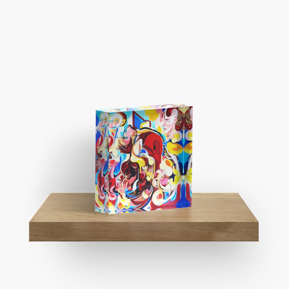 Expressive Abstract People Music Composition painting Acrylic Block