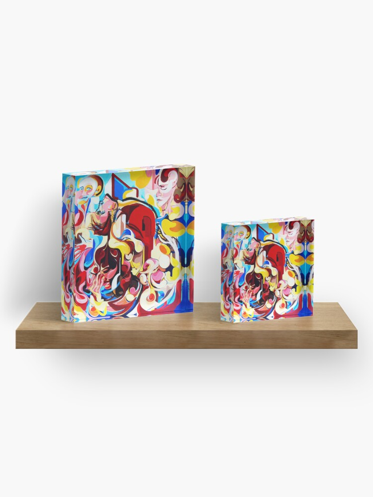 Alternate view of Expressive Abstract People Music Composition painting Acrylic Block