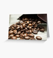 Spilled Coffee Beans Greeting Card