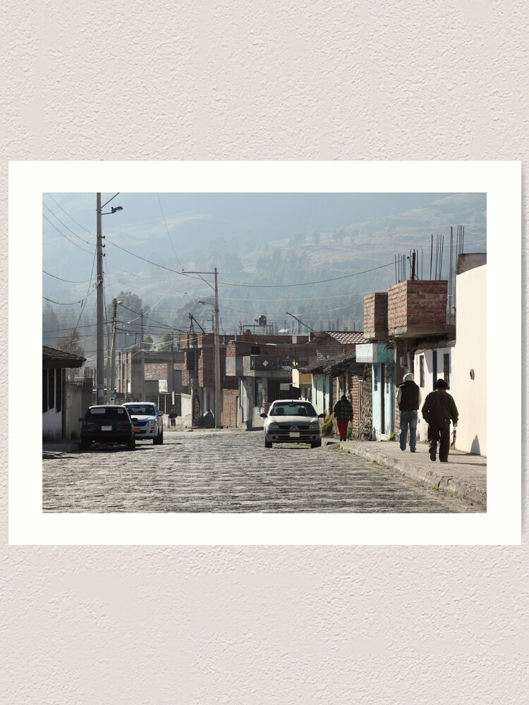 Alternate view of Daily life Guamote city street with people on sidewalk, brick buildings Art Print