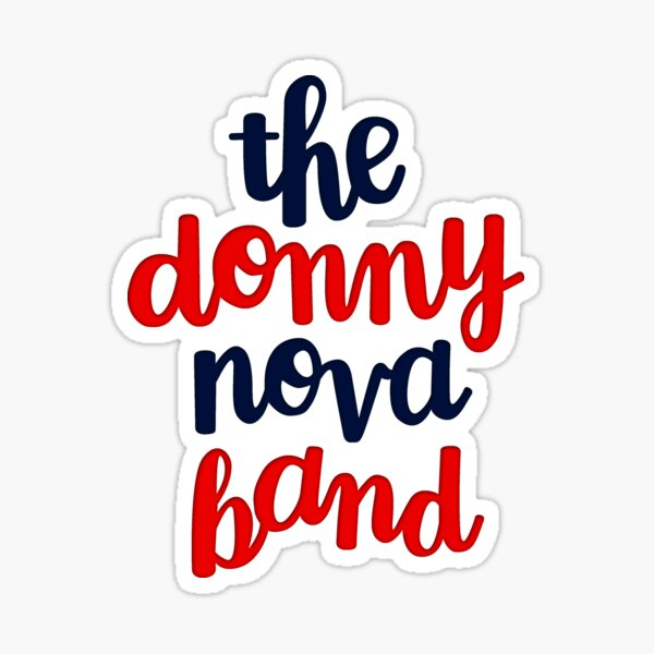 Donny Nova Band Stacked Script - Red and Navy Sticker