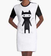 Ninja Cat Graphic T-Shirt Dress