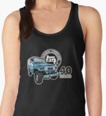 Blue Toyota Landcruiser FJ-40 with Vintage Logo Women's Tank Top