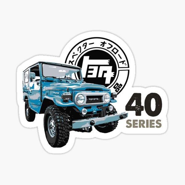 Blue Toyota Landcruiser FJ-40 with Vintage Logo Sticker