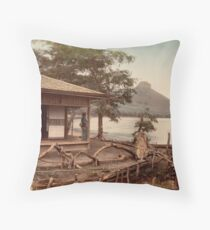 Haruna Lake tea house Throw Pillow