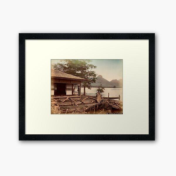 Haruna Lake tea house Framed Art Print