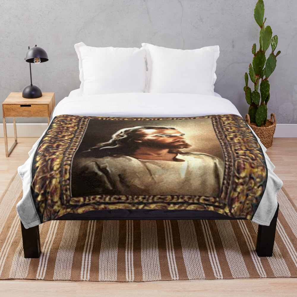 WARNER SALLMAN'S JESUS FRAMED Throw Blanket