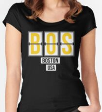 BOS - Boston Airport Code Souvenir or Gift Shirt Women's Fitted Scoop T-Shirt
