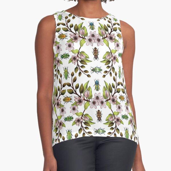 Jewel Beetles - Insect Pollinators with Magnolia Figo/Banana Shrub Flowers Sleeveless Top