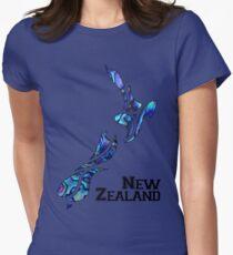 Flüssiges Neuseeland Tailliertes T-Shirt für Frauen