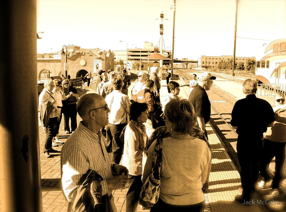 Rail Passengers Gather, Albuquerque in April Series 2009 by Jack McCabe