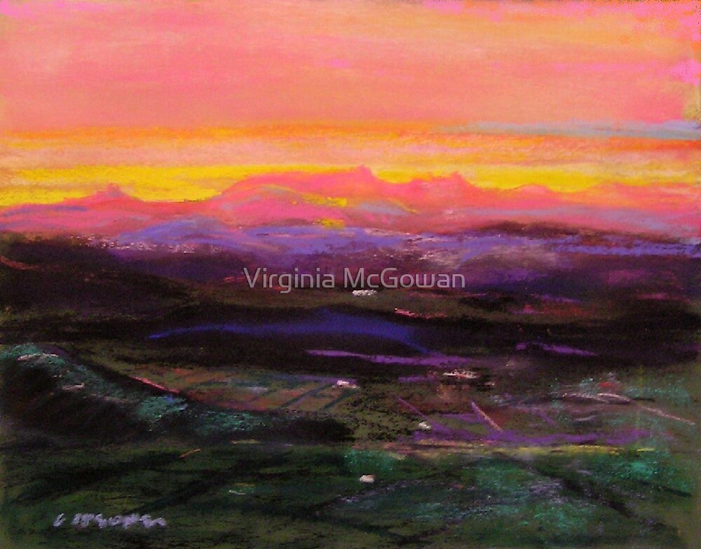 Sunset from Lookout at Tamborine Mountain  by Virginia McGowan